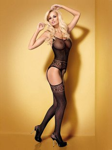 Bodystocking G307 czarne - bodystocking z pończochami