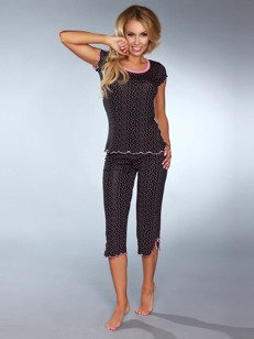 Piżama Model 105 – czarna – z masą szalonych kropek