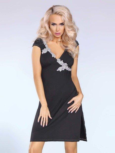 Sylvia sukienka czarna – elegancka sukienka z kontrastującym detalem - LC90001